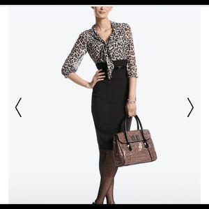 white house black market leopard and black dress